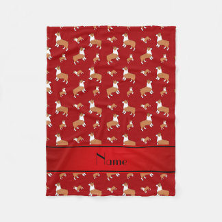 Personalized name red Welsh corgi pembroke dogs Fleece Blanket