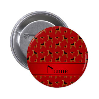 Personalized name red Welsh Terrier dogs 2 Inch Round Button