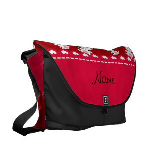 Personalized name red white bunnies messenger bags