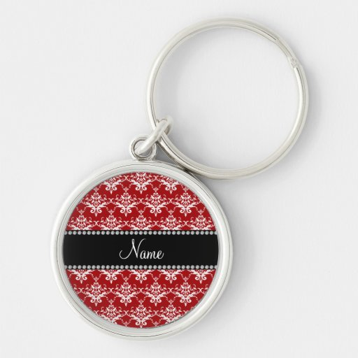 Personalized name red white damask keychains