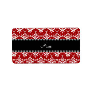 Personalized name red white damask personalized address label