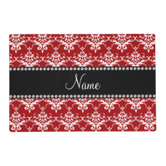 Personalized name red white damask laminated placemat