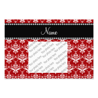 Personalized name red white damask photograph