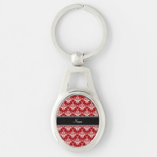 Personalized name red white damask key chains