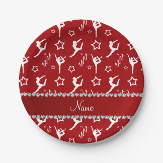Personalized name red white gymnastics stars paper plate