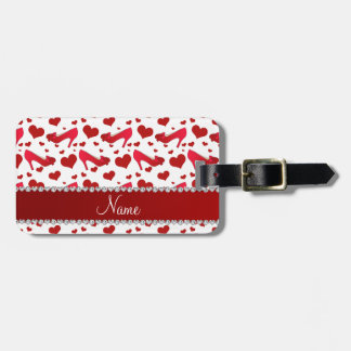 Personalized name red white hearts shoes bows luggage tag