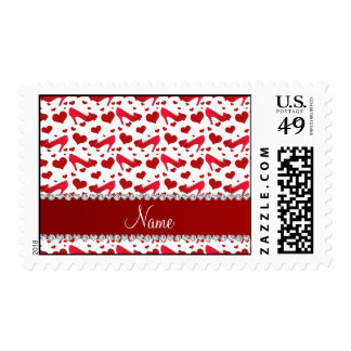 Personalized name red white hearts shoes bows postage