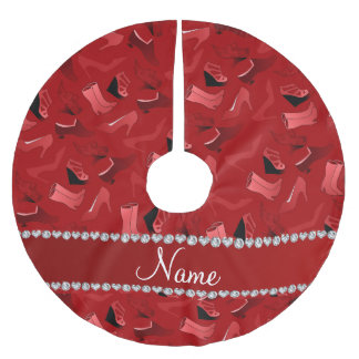 Personalized name red women's shoes pattern brushed polyester tree skirt