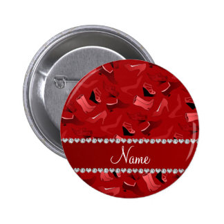 Personalized name red women's shoes pattern button
