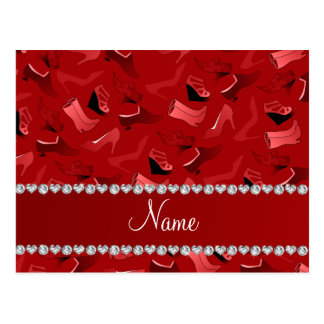 Personalized name red women's shoes pattern postcard