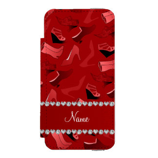Personalized name red women's shoes pattern wallet case for iPhone SE/5/5s