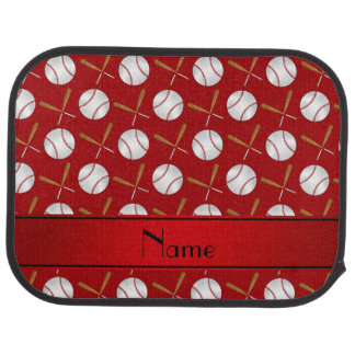 Personalized name red wooden bats baseballs car mat