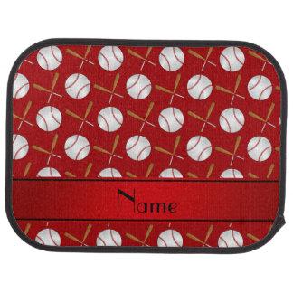 Personalized name red wooden bats baseballs car mat
