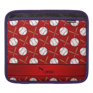 Personalized name red wooden bats baseballs iPad sleeve