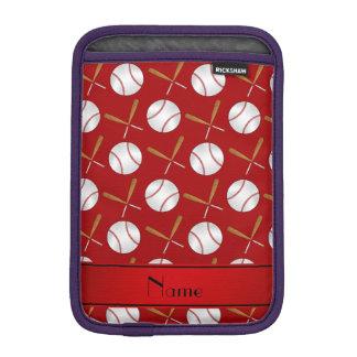 Personalized name red wooden bats baseballs iPad mini sleeve