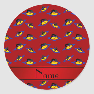 Personalized name red wrestlers on mat classic round sticker