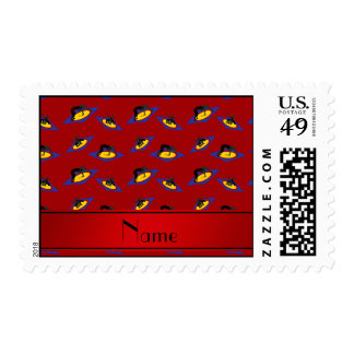 Personalized name red wrestlers on mat postage