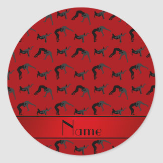 Personalized name red wrestling silhouettes classic round sticker