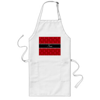 Personalized name red yoga pattern long apron