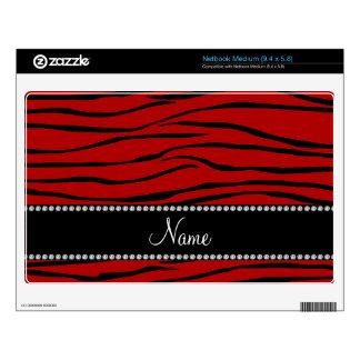 Personalized name red zebra stripes netbook skins