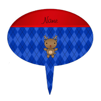 Personalized name reindeer blue argyle cake topper