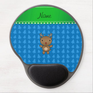 Personalized name reindeer blue christmas trees gel mouse pads