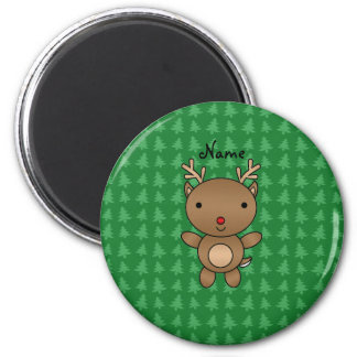 Personalized name reindeer green christmas trees 2 inch round magnet