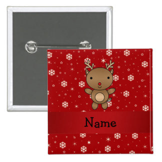 Personalized name reindeer red snowflakes pins