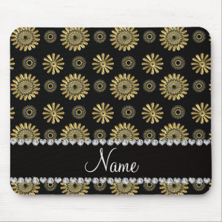 Personalized name retro black gold flowers mouse pad