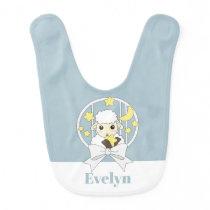 Personalized Name Retro Pastel Blue Cute Sheep Baby Bib