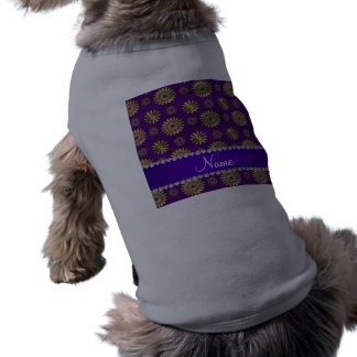 Personalized name retro purple gold flowers dog shirt