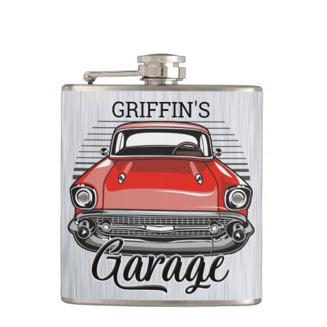 Personalized NAME Retro Red Classic Car Garage Flask