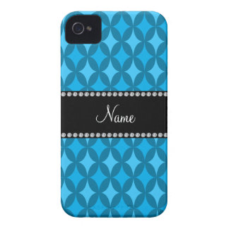 Personalized name retro sky blue circle diamond iPhone 4 cover