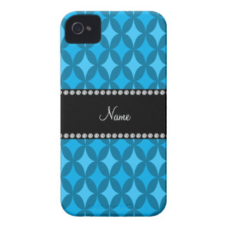 Personalized name retro sky blue circle diamond iPhone 4 case