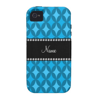 Personalized name retro sky blue circle diamond vibe iPhone 4 cases