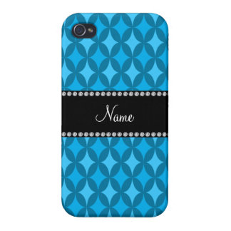 Personalized name retro sky blue circle diamond iPhone 4 covers