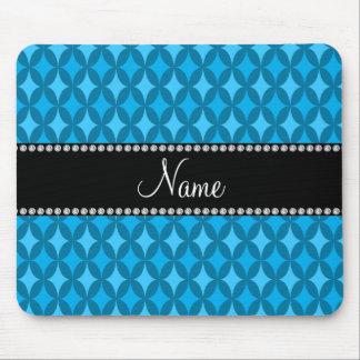 Personalized name retro sky blue circle diamond mouse pads