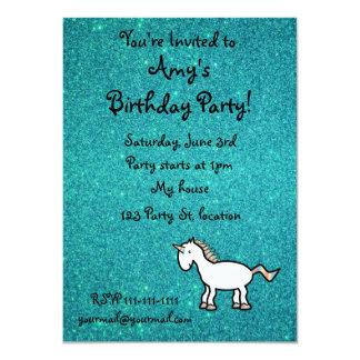 Personalized name retro unicorn turquoise glitter 4.5x6.25 paper invitation card