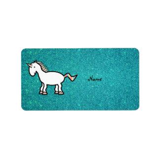 Personalized name retro unicorn turquoise glitter personalized address label