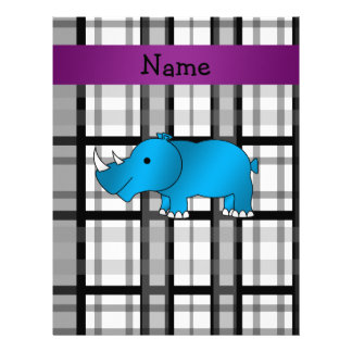 Personalized name rhino black plaid pattern letterhead
