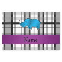 Personalized name rhino black plaid pattern tissue paper