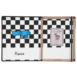 Personalized name rhino black white checkers iPad folio cases