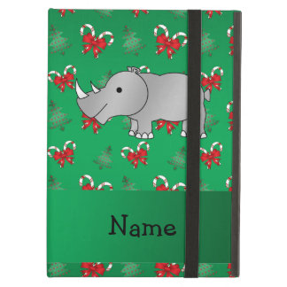 Personalized name rhino green candy canes bows iPad air case