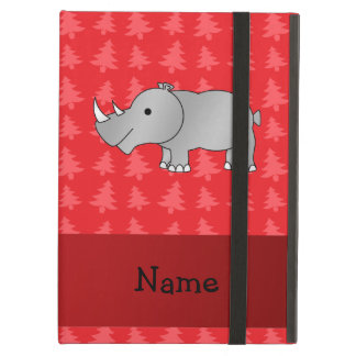 Personalized name rhino red christmas trees case for iPad air