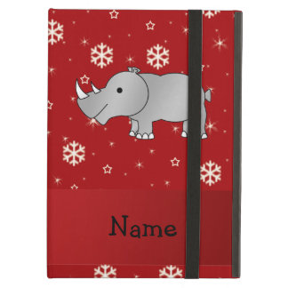 Personalized name rhino red snowflakes cover for iPad air