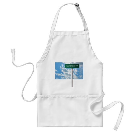 Personalized Name Road Street Sign on Blue Sky Adult Apron