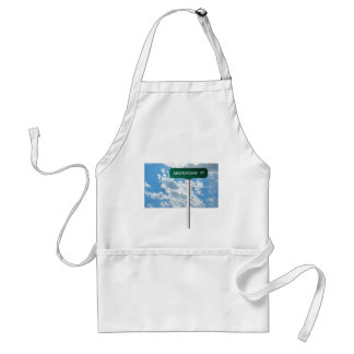 Personalized Name Road Street Sign on Blue Sky Aprons