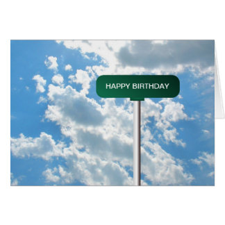 Personalized Name Road Street Sign on Blue Sky Card