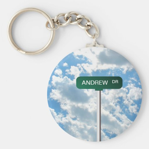 Personalized Name Road Street Sign on Blue Sky Key Chain