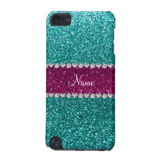 Personalized name robin blue glitter pink stripe iPod touch (5th generation) cases